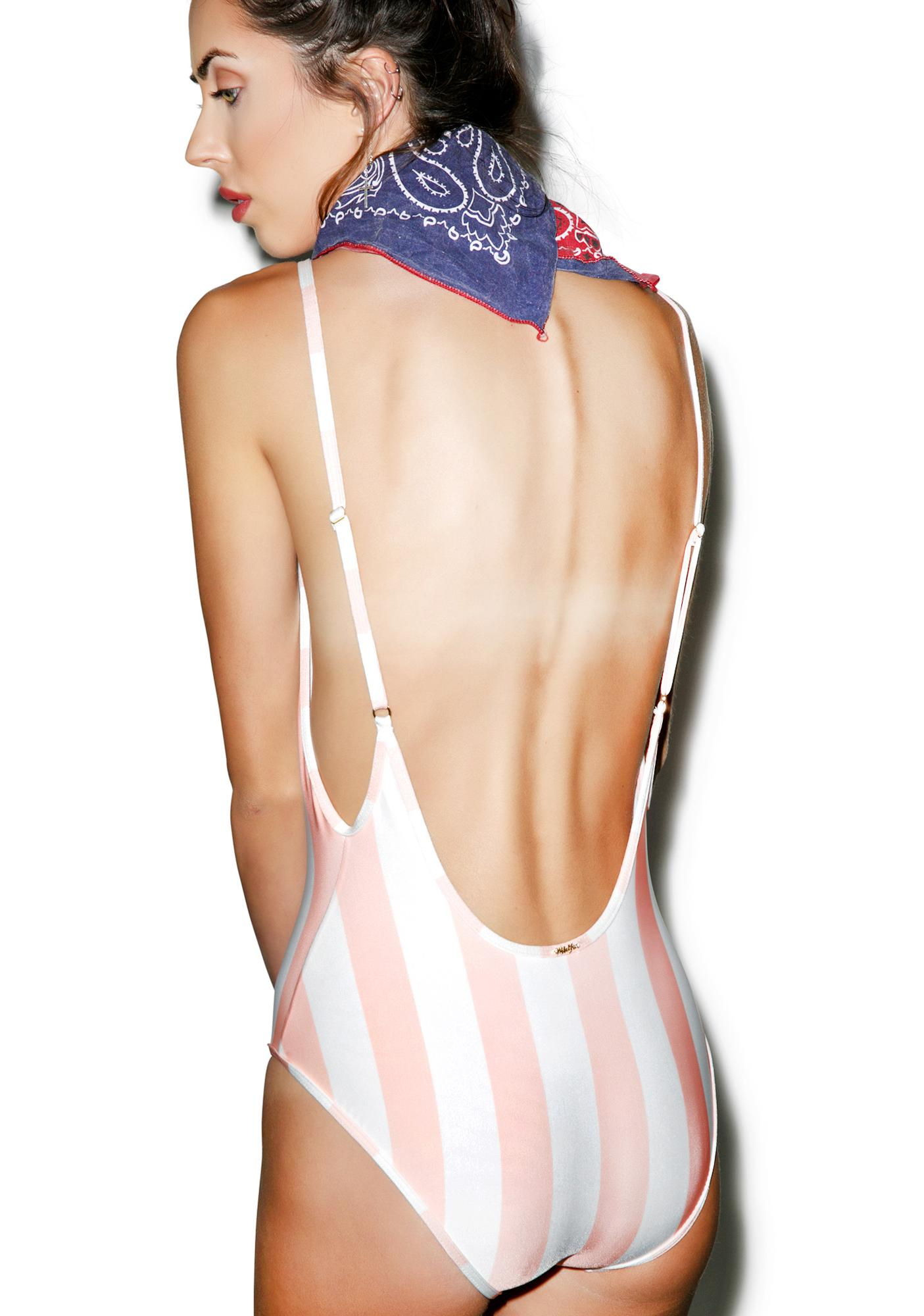 Wildfox Couture Hotel Stripe 90's One Piece