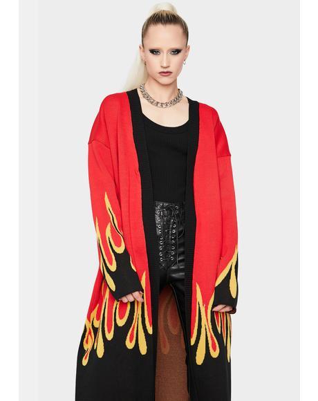 Let It Burn Long Flame Print Cardigan