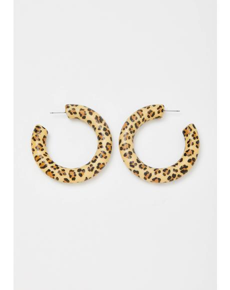 Puurrfect Poise Leopard Hoops