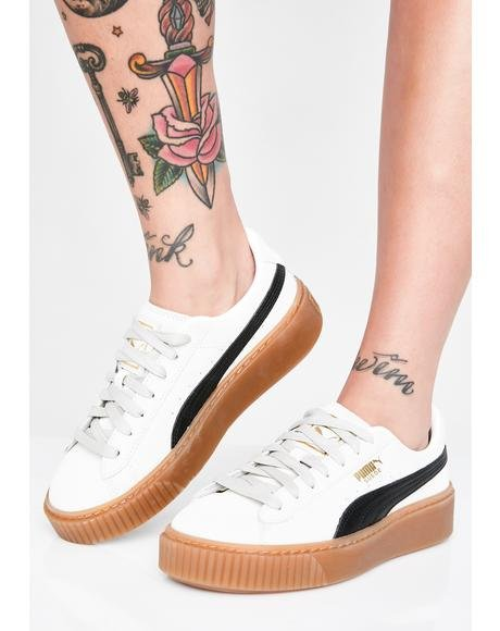 Whisper White Suede Platform Core Sneakers