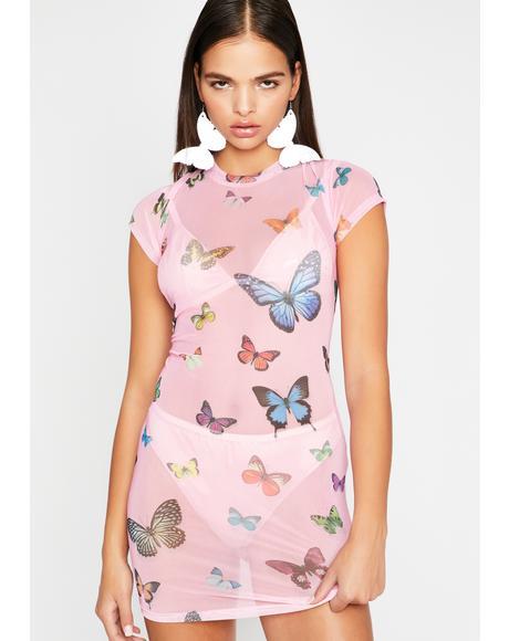 Fluttering Heart Mesh Dress