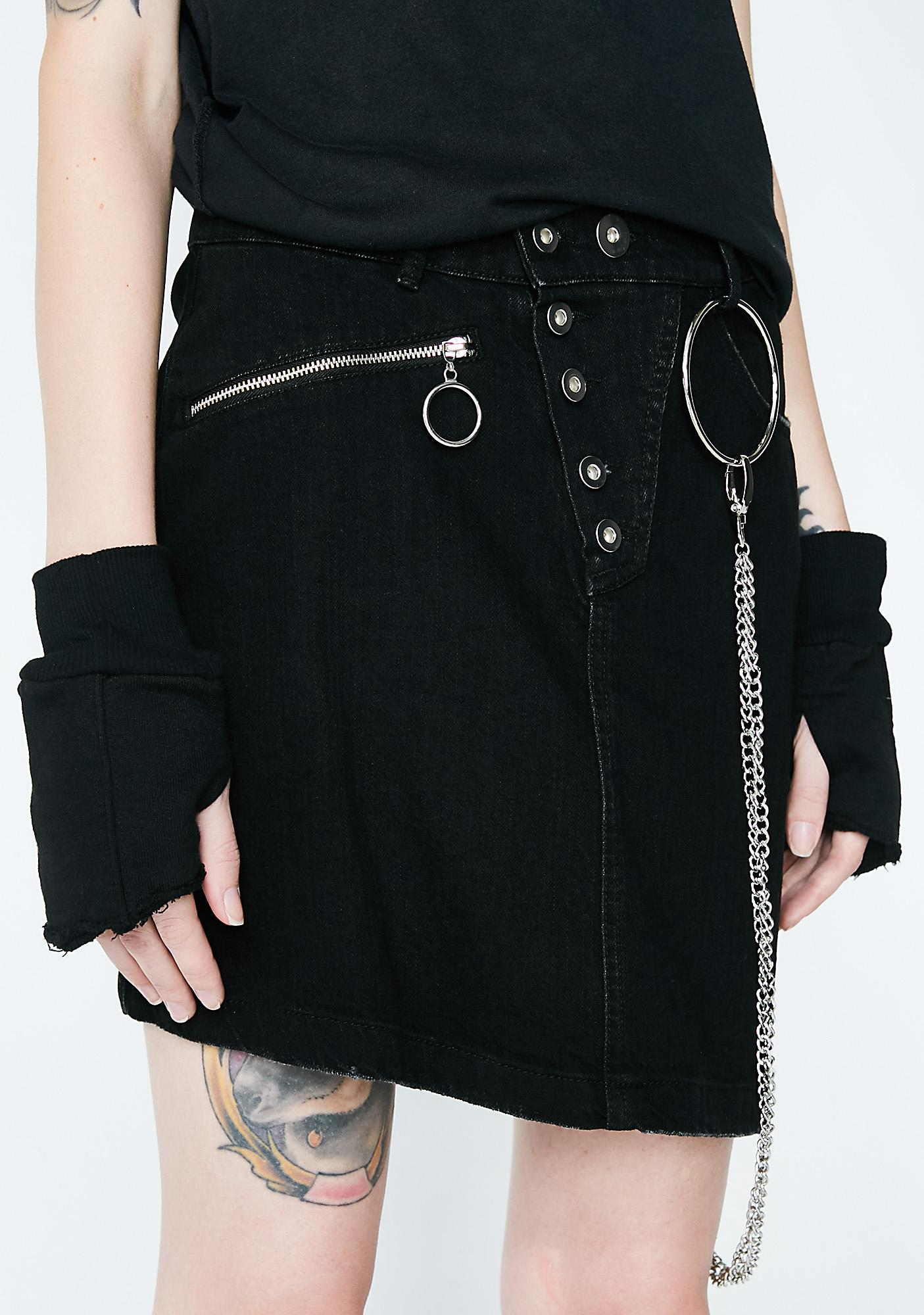 Disturbia Morte Denim Skirt