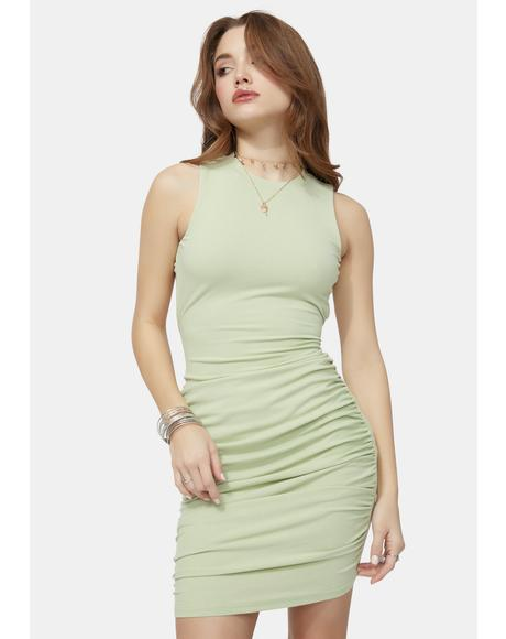 Sage Chic Temptations Ribbed Ruched Tank Dress