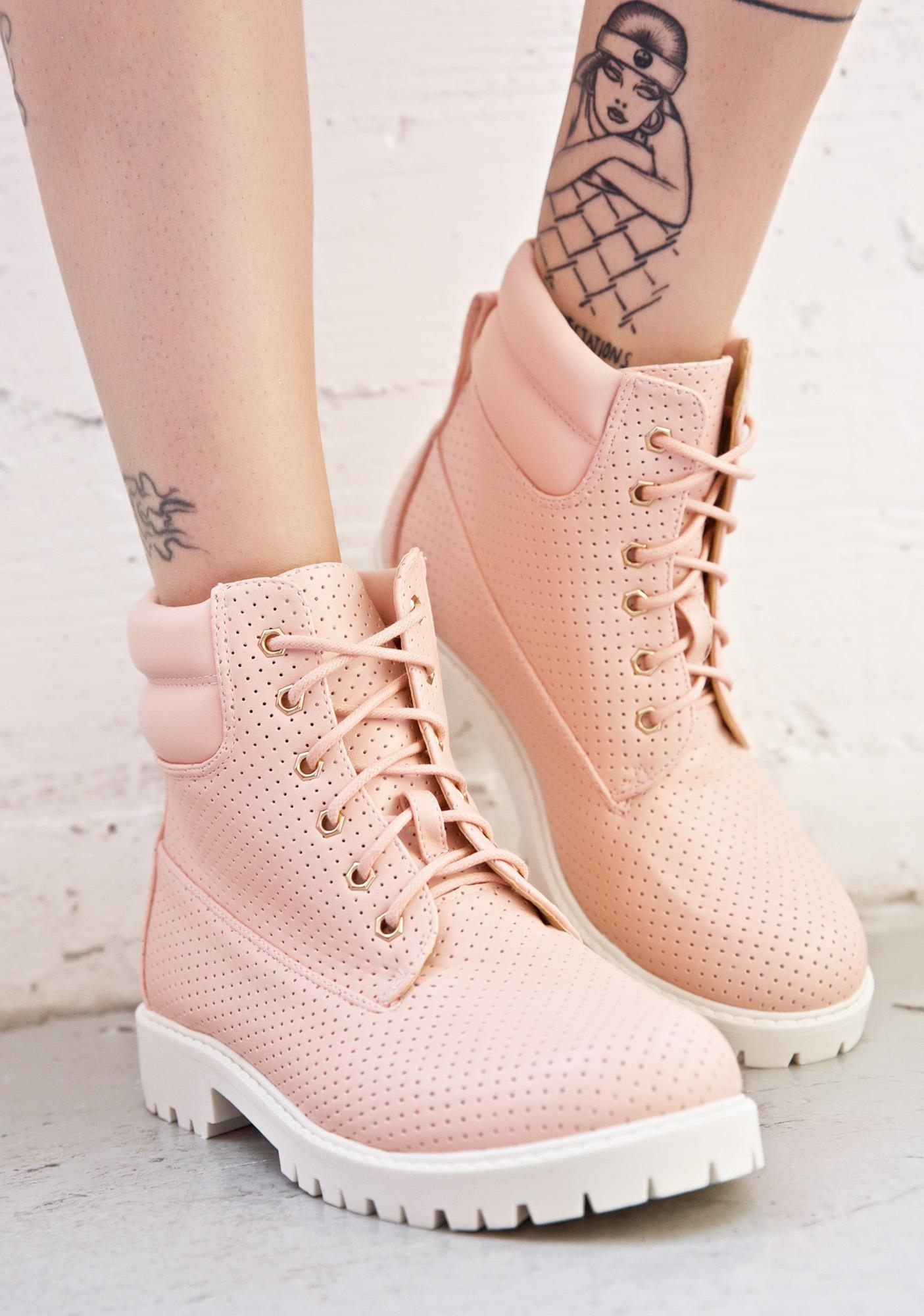 Rosewater Perforated Work Boots