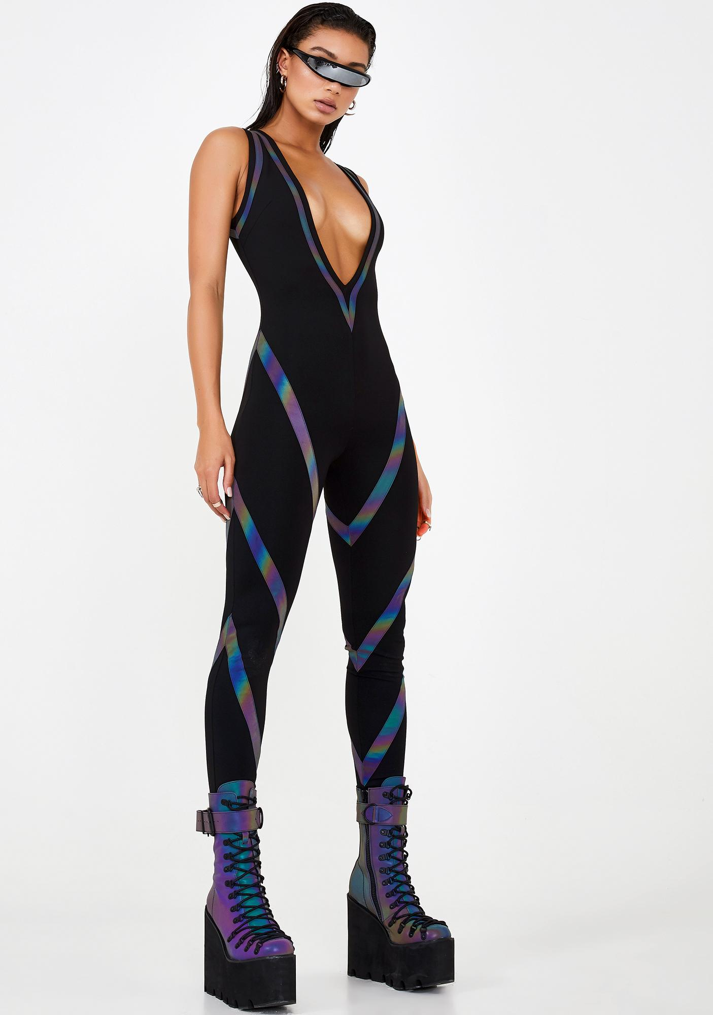 Club Exx Strobelight Seduction Reflective Catsuit