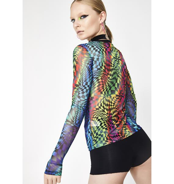 Club Exx Psytrance Long Sleeve Mesh Top