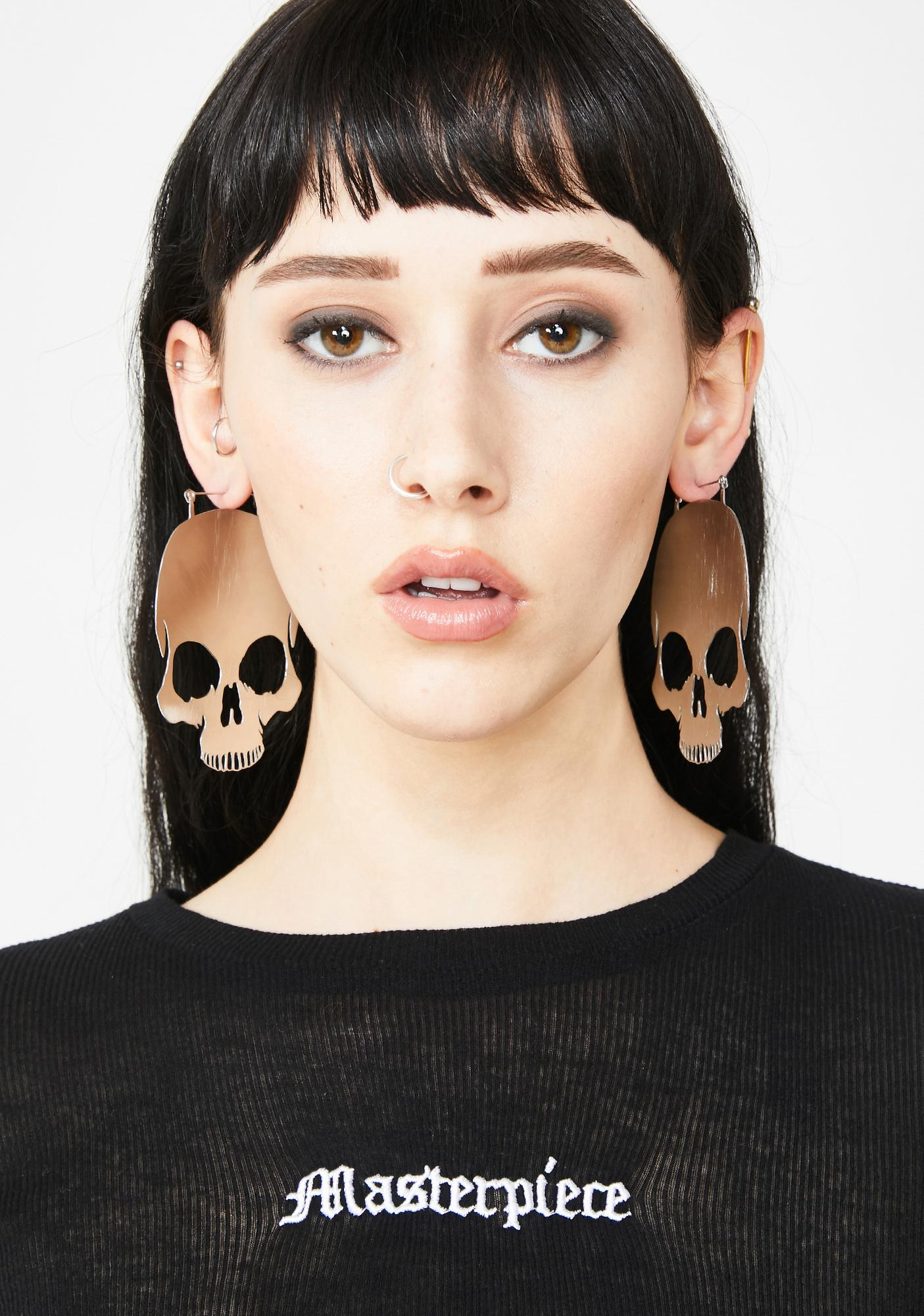 Too Fast Skull Hoop Earrings