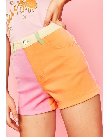 Candy Crush On U Colorblock Shorts