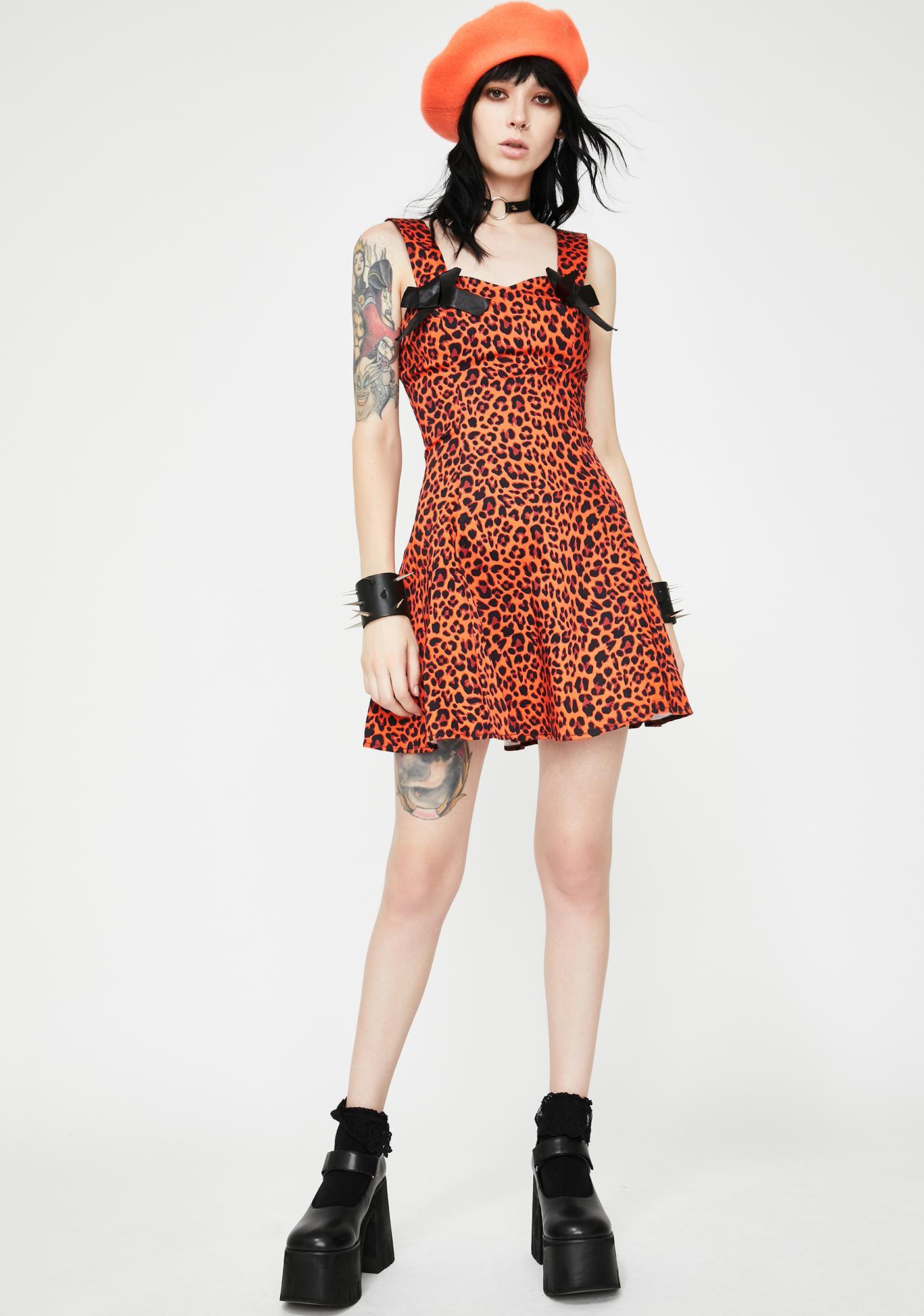 Dr. Faust Fire Leopard Mini Dress