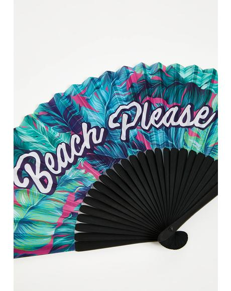 Shady Beaches Bamboo Fan