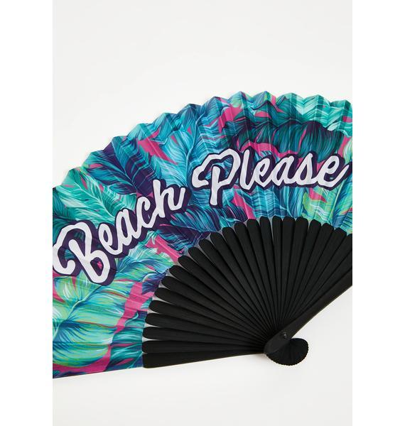 Shady Beaches Bamboo Fan