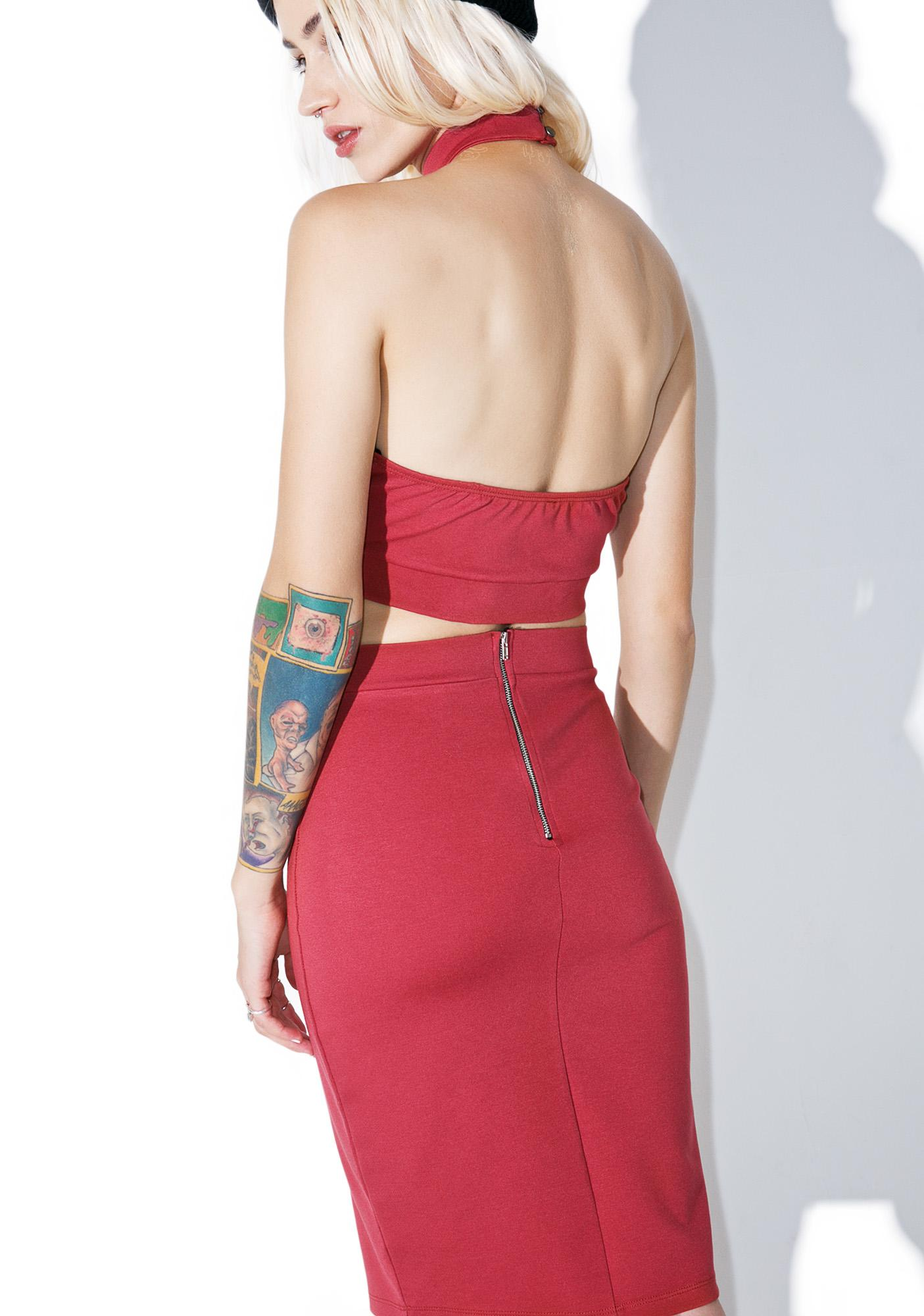 Raspberry Creme Pencil Skirt