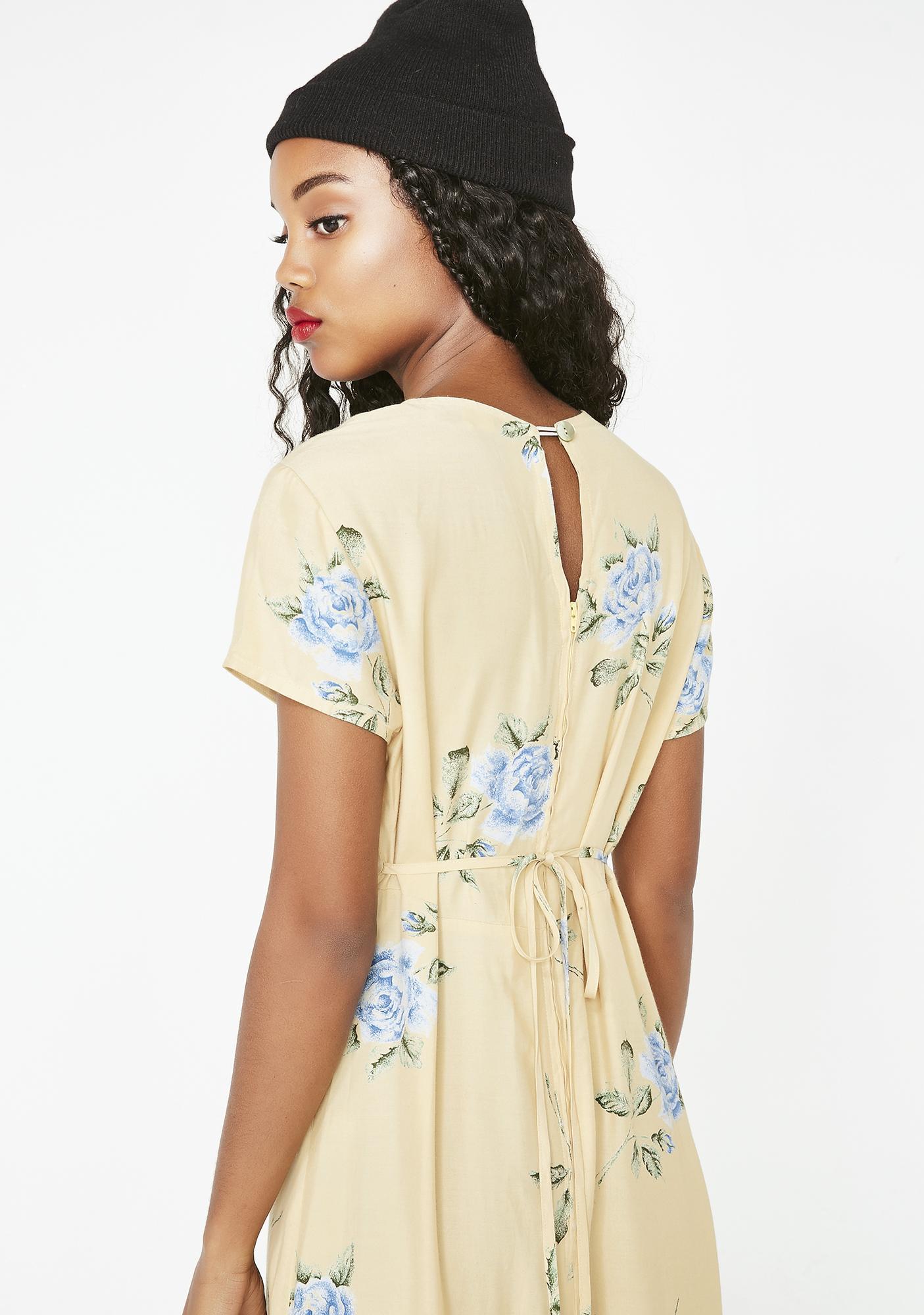 e56ee049ba6b Vintage 90s Yellow Floral Maxi Dress