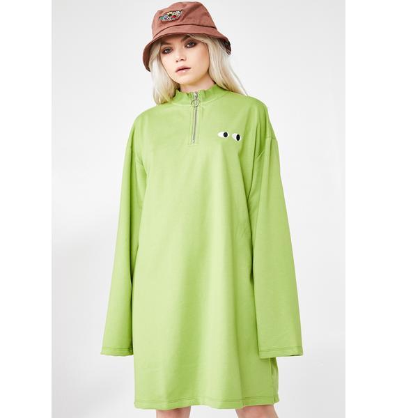 Lazy Oaf Lime Zippy Dress