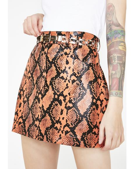Snake Skirt With Chain Belt