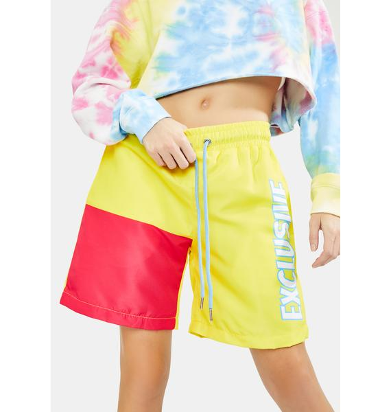 EXCLUSIVE DELIVERY CO. Strawberry Lemon Exclusive Colorblock Shorts