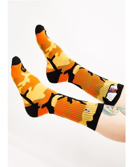 Orange Camo Pocket Socks