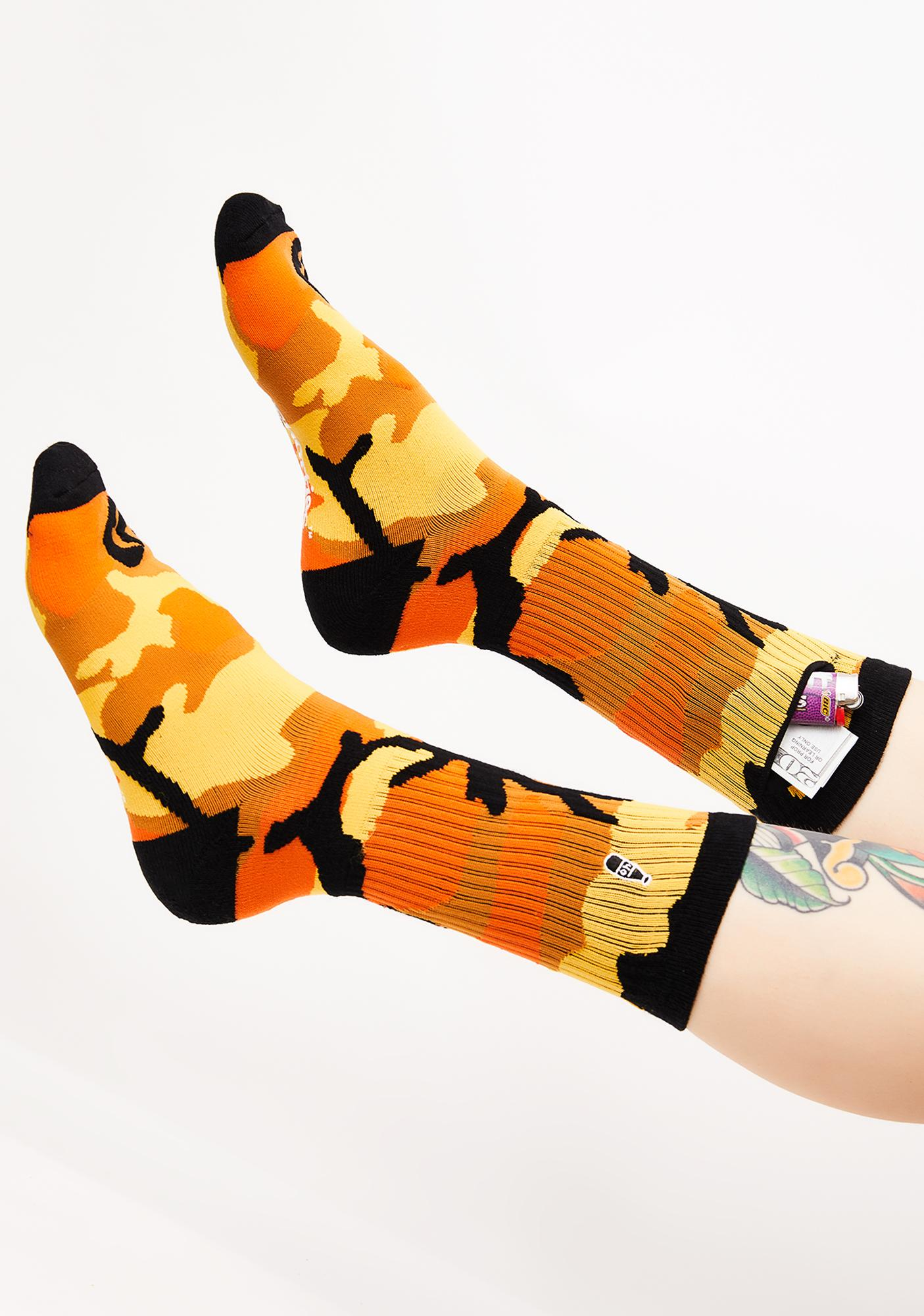 40s & Shorties Orange Camo Pocket Socks