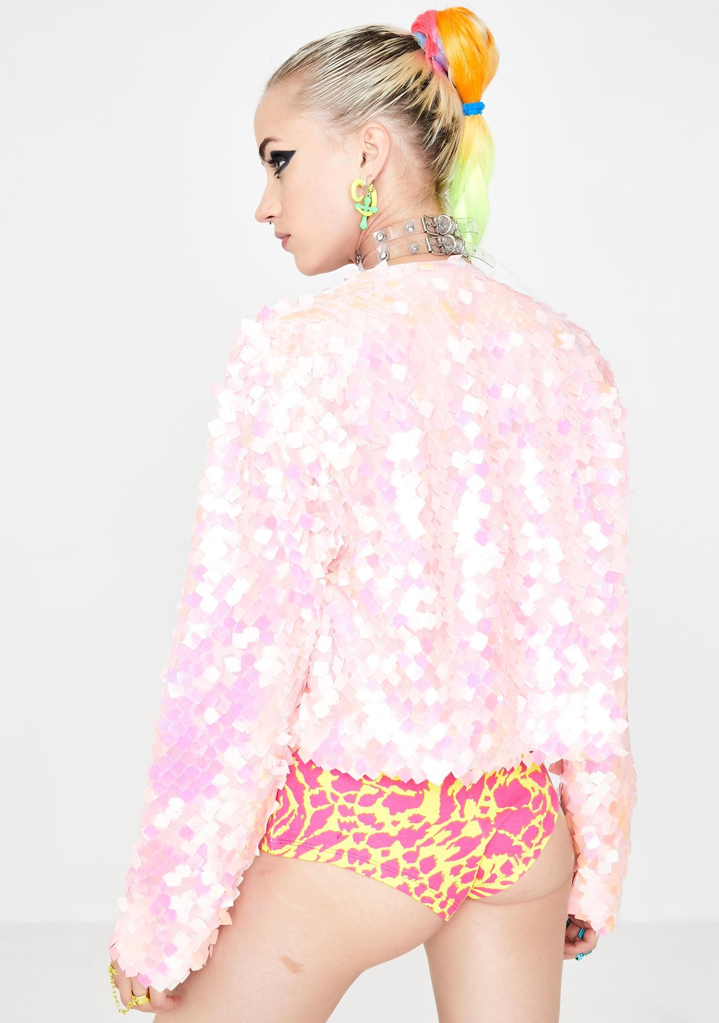Glitter Disco Child Aura Sequin Crop Jacket