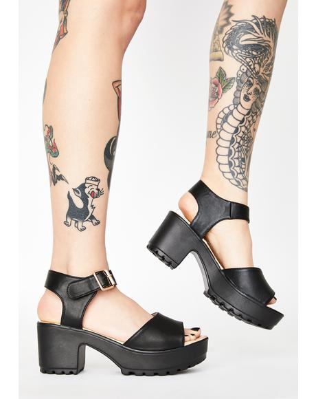 Cleated Block Heel Platform Sandals