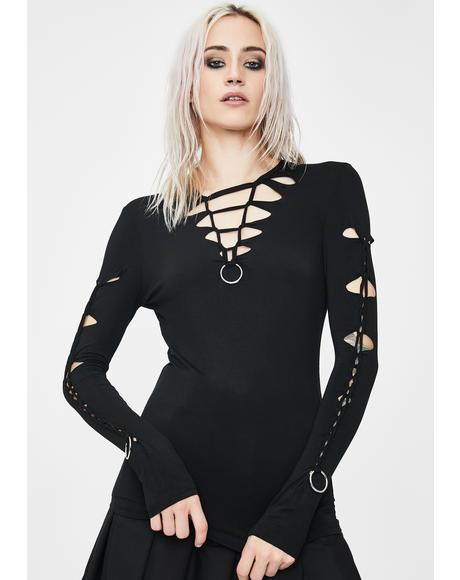Spring Women Cut Out O-Ring Top