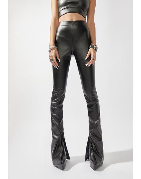 Night See Me Trending Vegan Leather Slit Pants