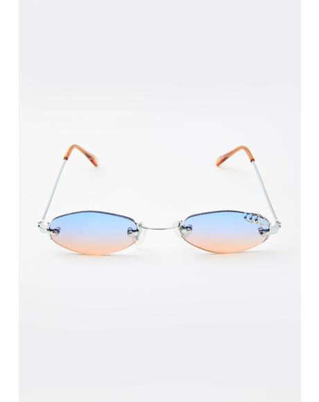 Purple Orange Pierced Oval Sunglasses