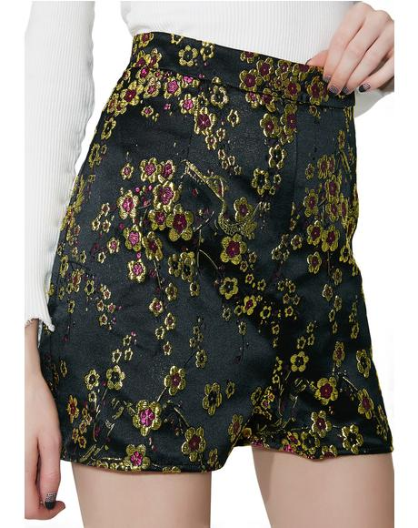 Fall Bloom Embroidered Shorts