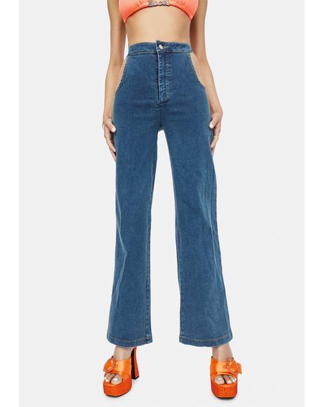 Indigo No Sneak Peeks Cutout Denim Jeans