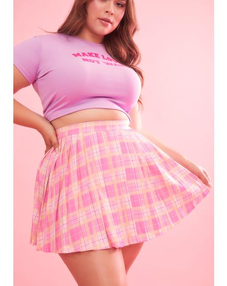 Hey That's My Jam Plaid Pleated Skirt