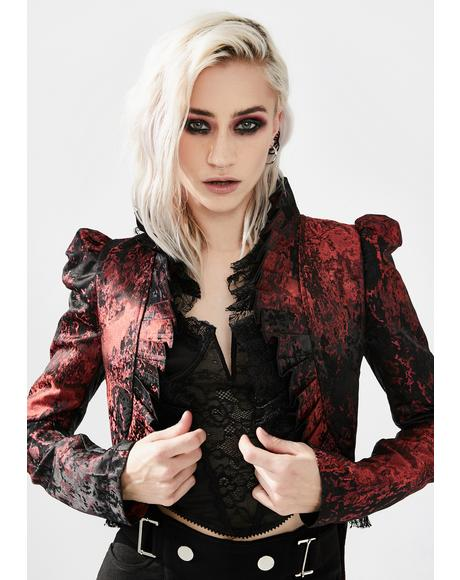 Red Night Ruffled Swallowtail Coat
