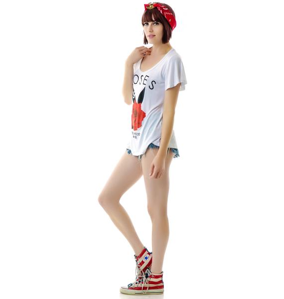 Hollywood Made Miss Roses Scoop Neck Tee