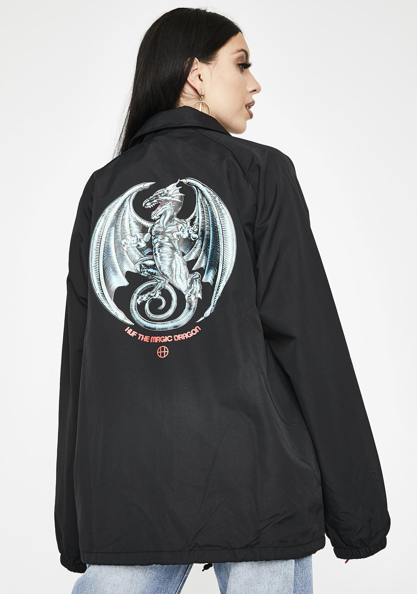 HUF Black Huf The Magic Dragon Coach Jacket