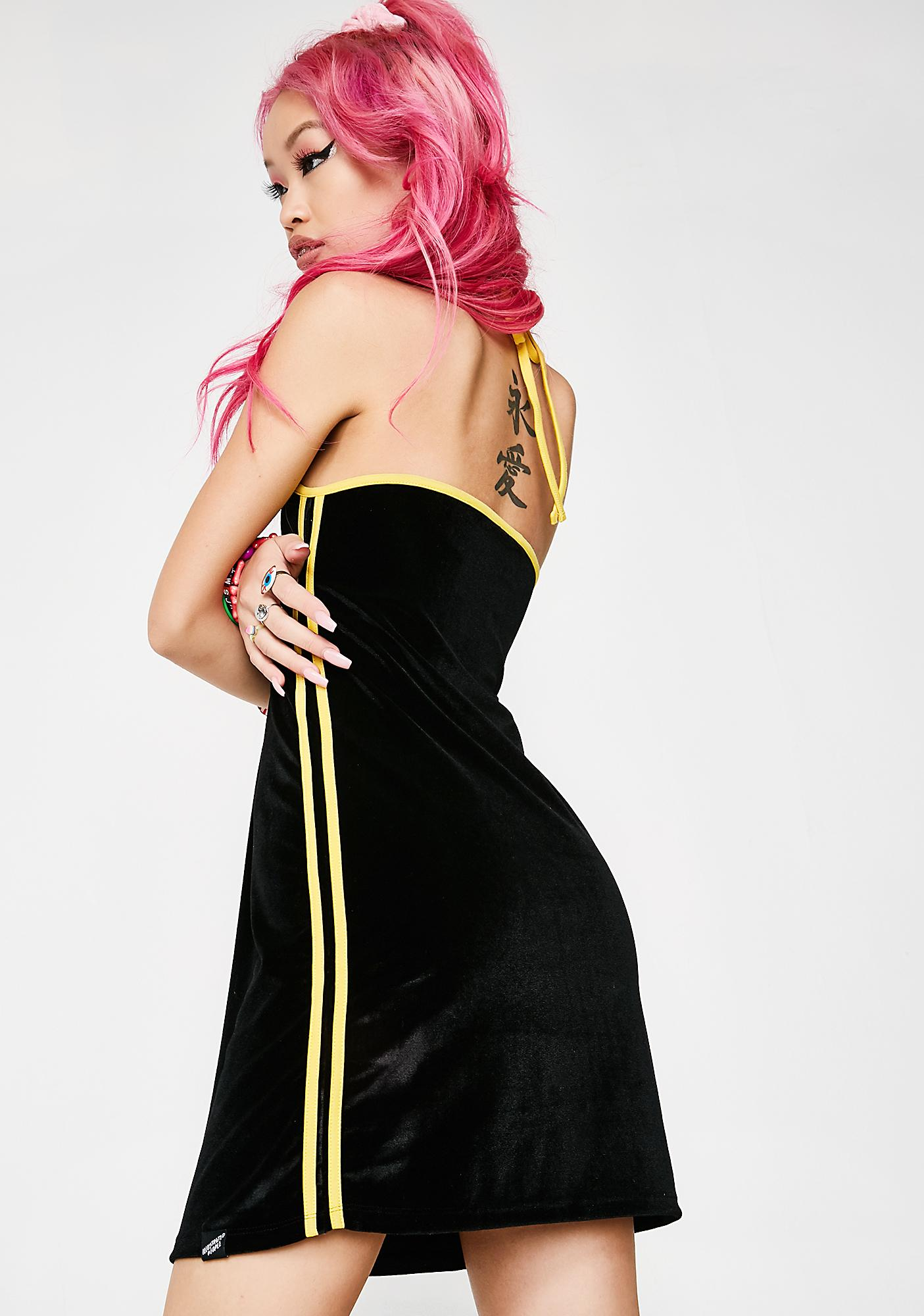 Illustrated People Velour Stripe Halter Dress