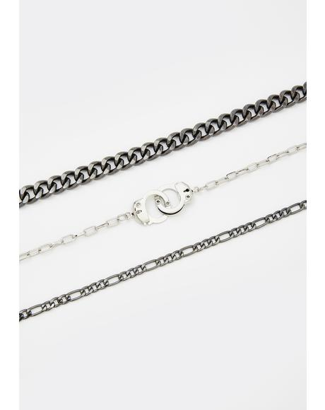 Cuffed Punk Layered Chain Choker
