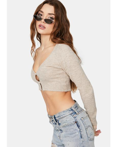 Mocha Youth Calling Cardigan Crop Top