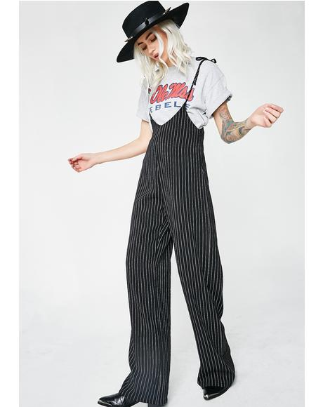Ain't Waiting Striped Jumpsuit