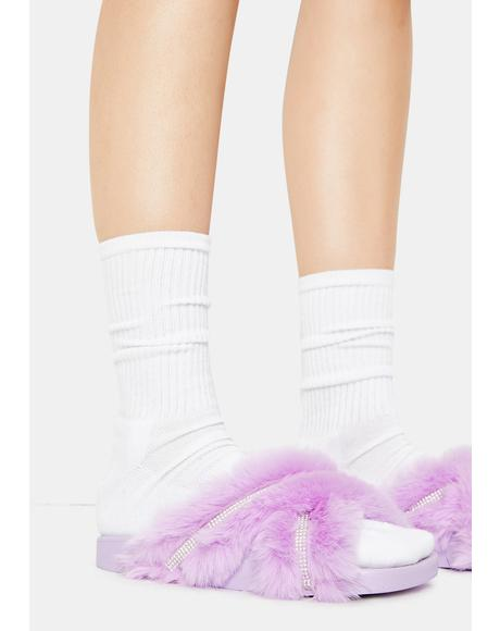 Lilac Doing Too Much Faux Fur Slide Sandals