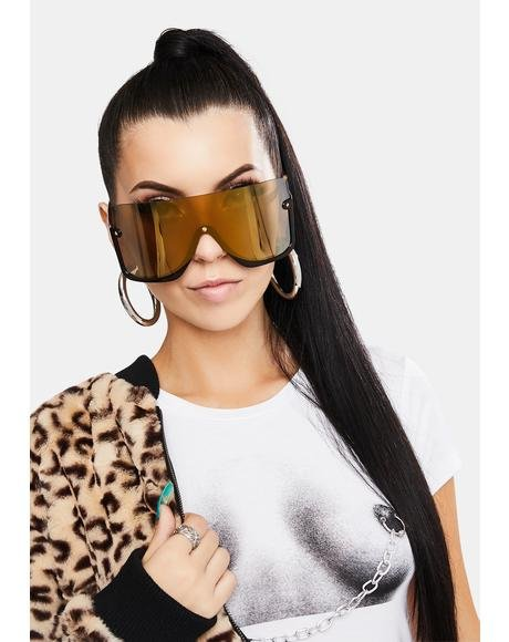 Umber Broken Promises Oversized Sunglasses