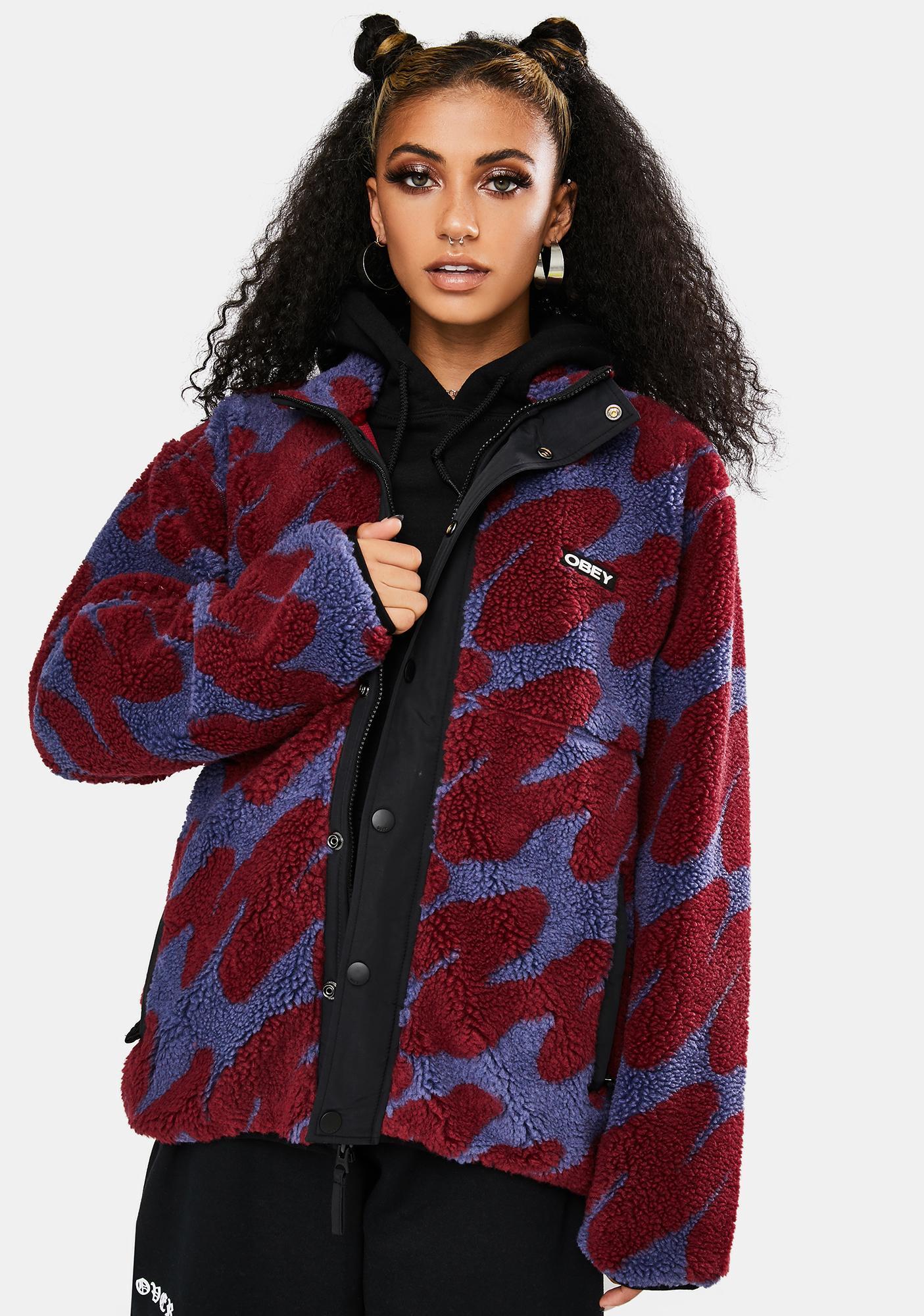 Obey Purple Multi Hense Sherpa Jacket