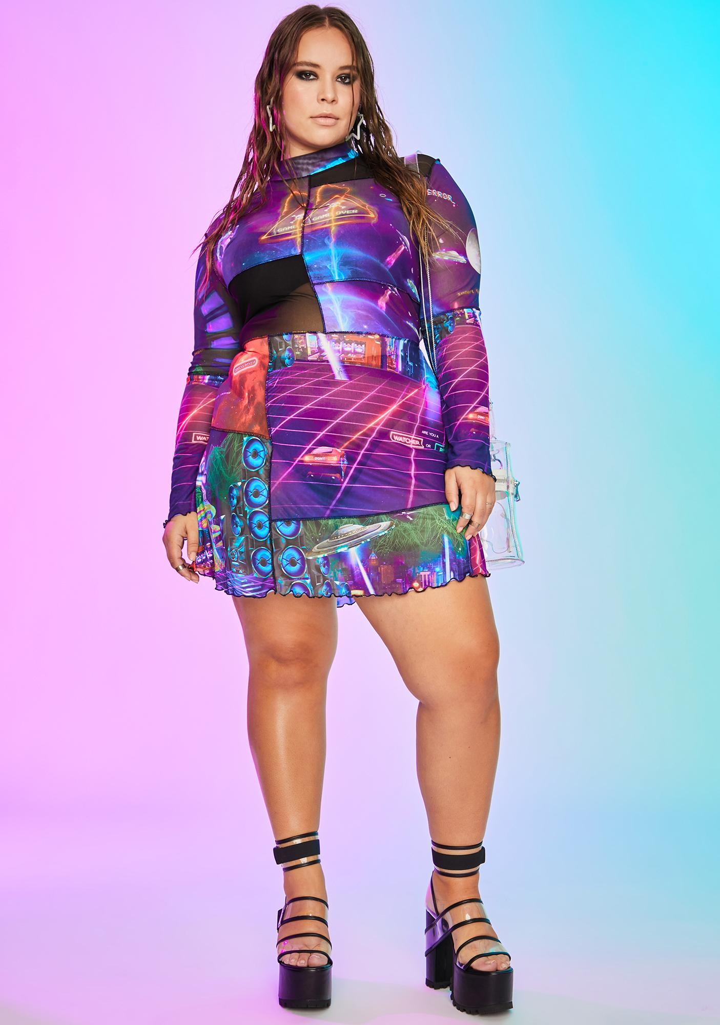 Current Mood Freaky Future World Mesh Dress