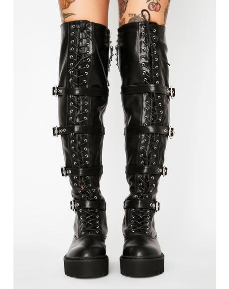 Buckle Up Knee High Boots