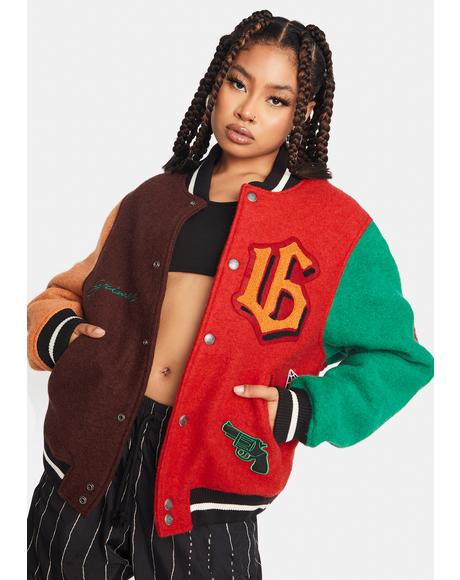 Wool Colorblock Baseball Jacket