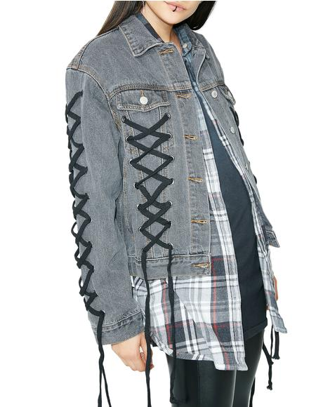 Lace Me Up Denim Jacket