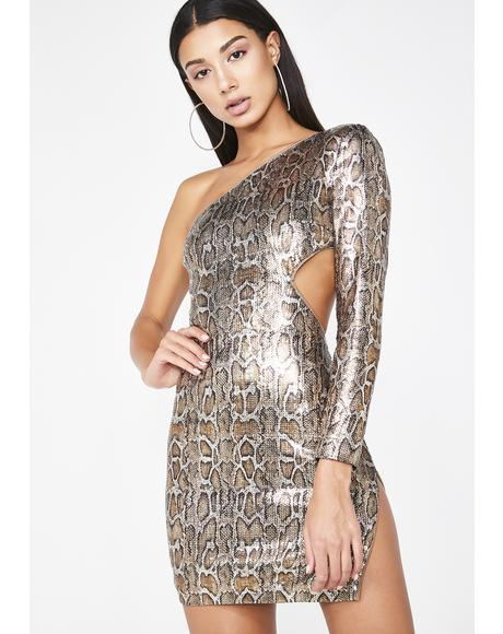 On The List Snake Sequin Dress