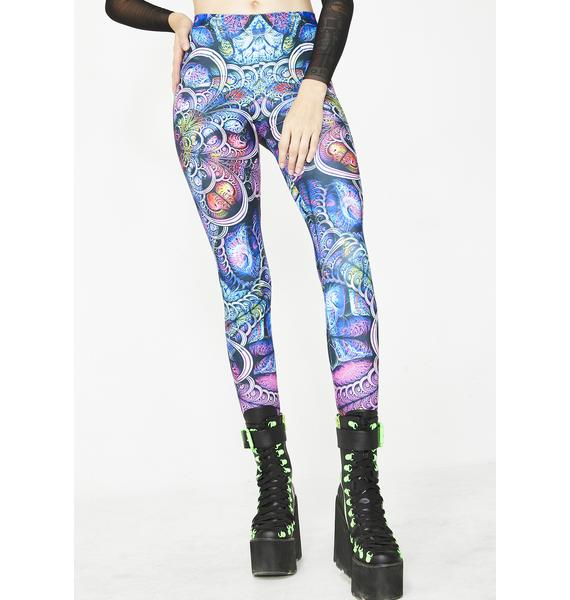 Badinka Blue Fractal Leggings