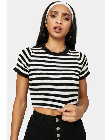 Try To Mess With Me Striped Crop Top