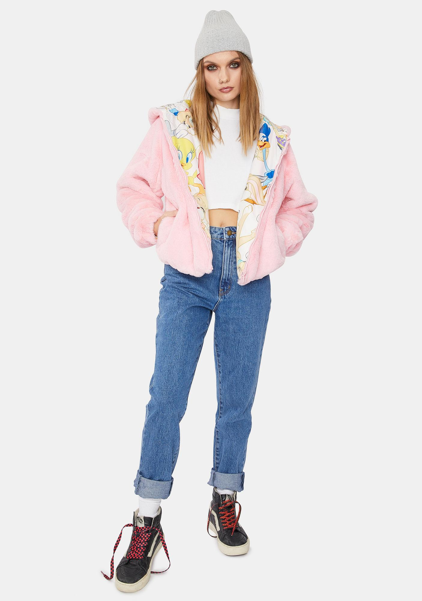 Members Only Blush Looney Toons Faux Fur Jacket
