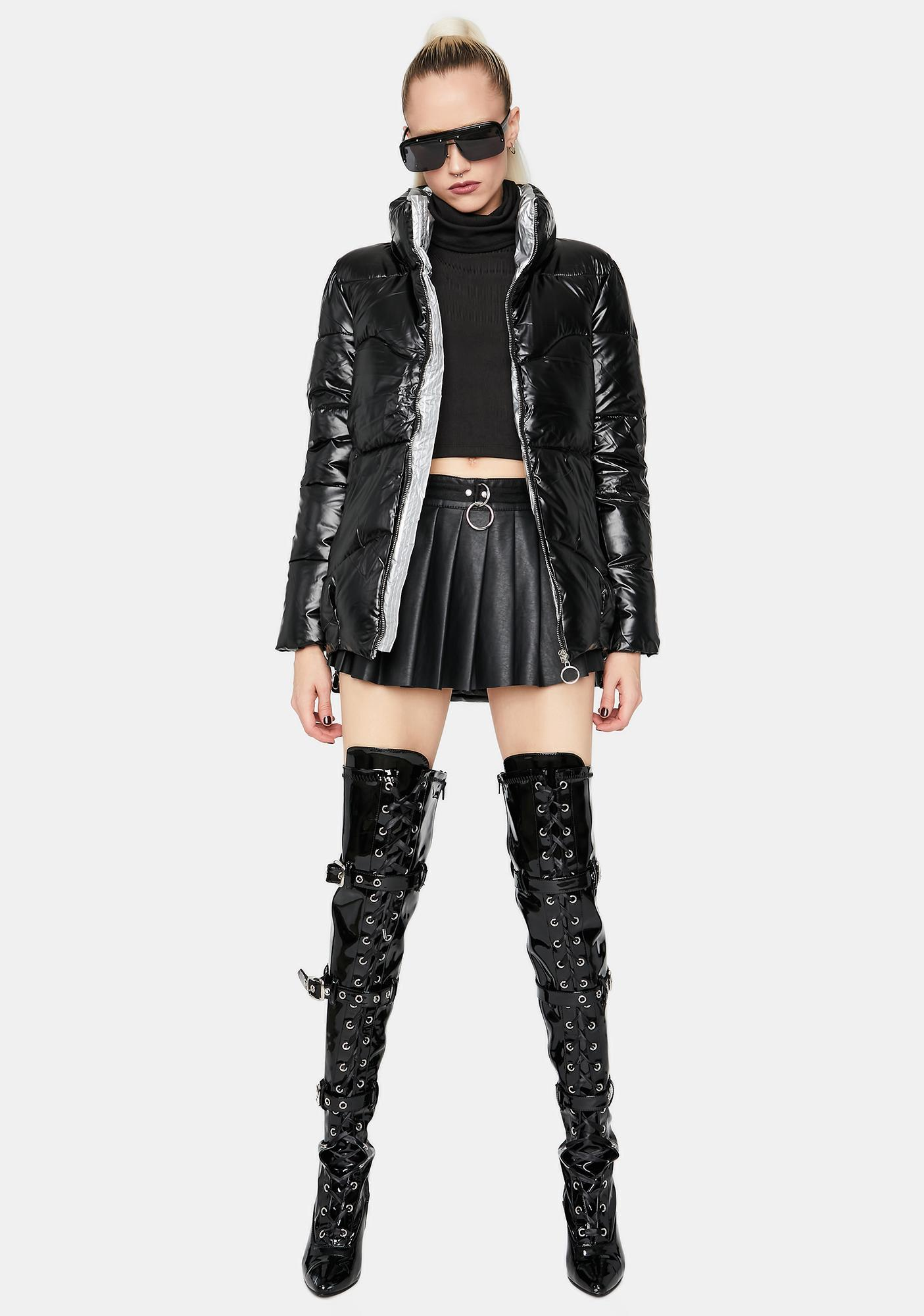 Night Urban Glory Metallic Puffer Jacket