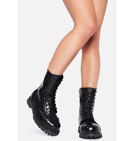 Demonia Leather Amped Up Lace Up Boots